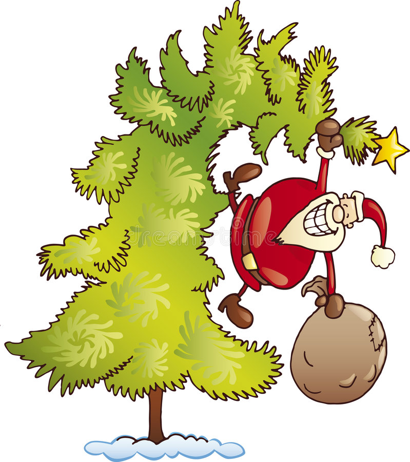 Download Crazy Santa Claus With Sack On Christmas Tree Stock Vector - Image: 6965456