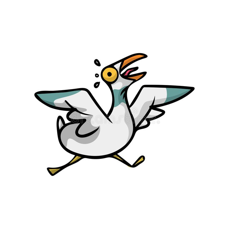 Crazy and scared seagull bird with big eyes running stock illustration