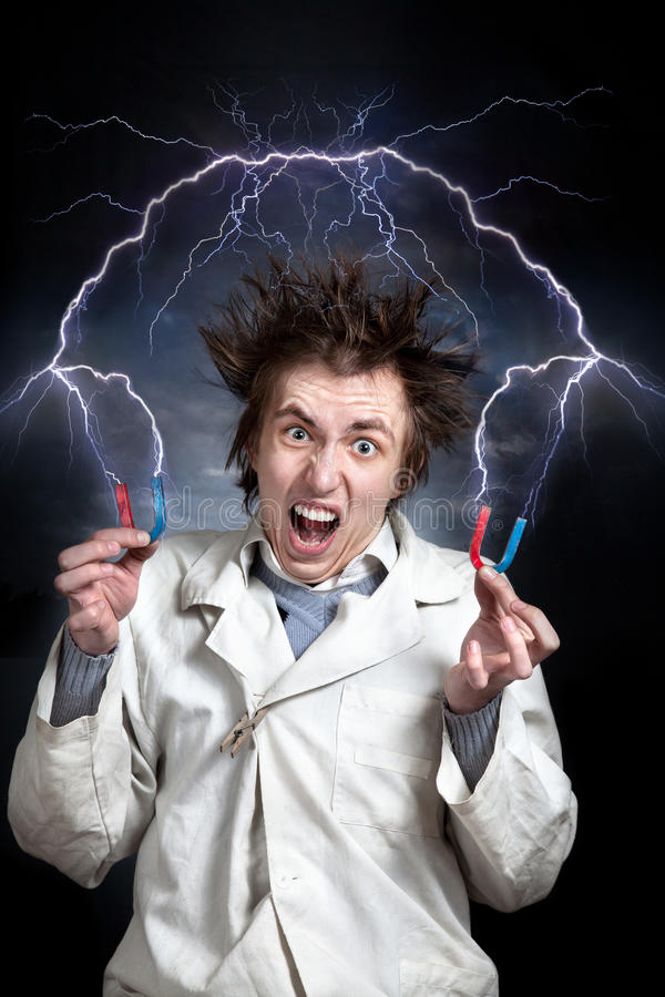 Crazy scientist royalty free stock photos