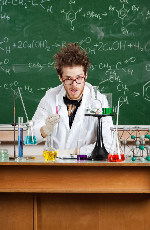 Crazy scientist stock image
