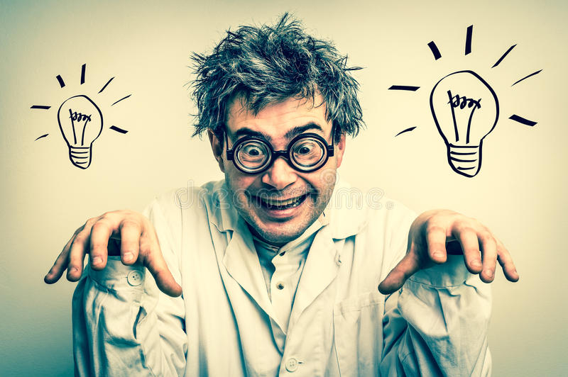 Crazy scientist with glasses and grey hair - retro style royalty free stock photo