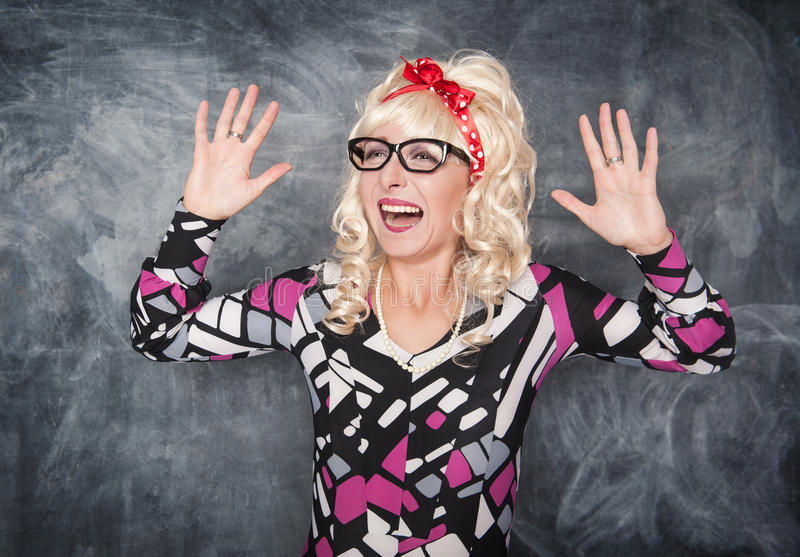 Crazy screaming retro woman stock photography