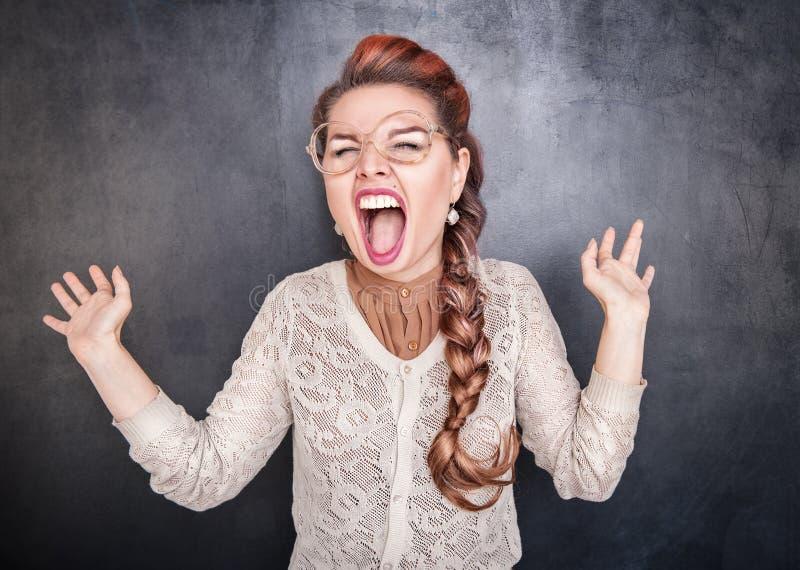 crazy screaming woman στοκ εικόνες
