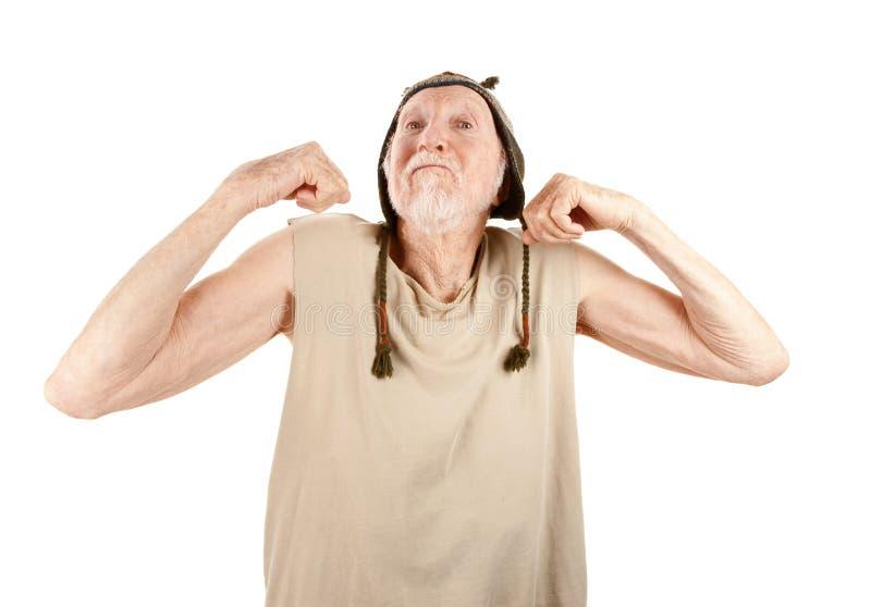 Crazy Senior Man Flexing Muscles Royalty Free Stock Photos