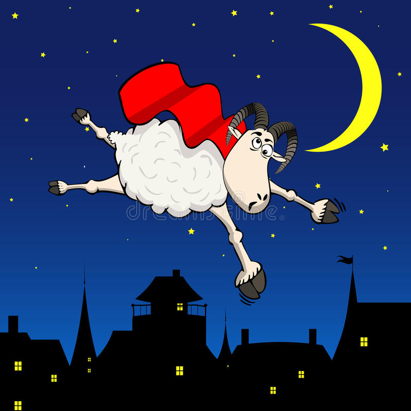 Crazy Sheep background royalty free illustration