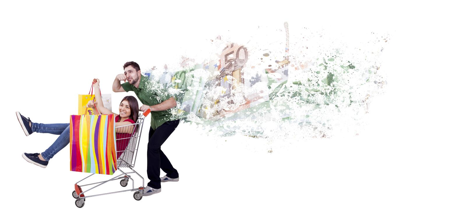 Crazy shopping. With women and desperate man royalty free stock photos