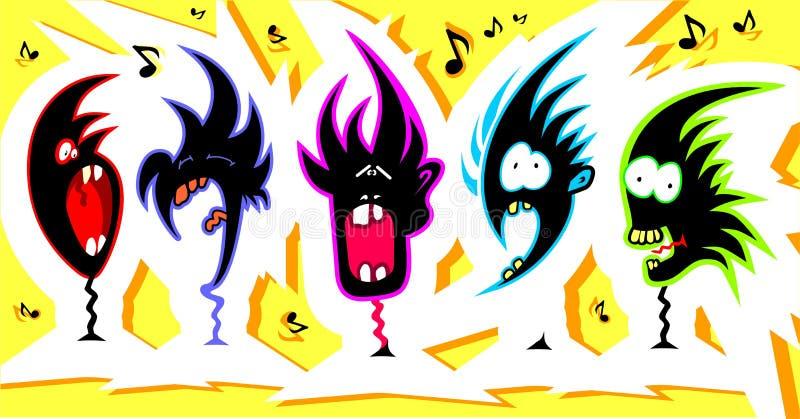 Crazy singers vector illustration