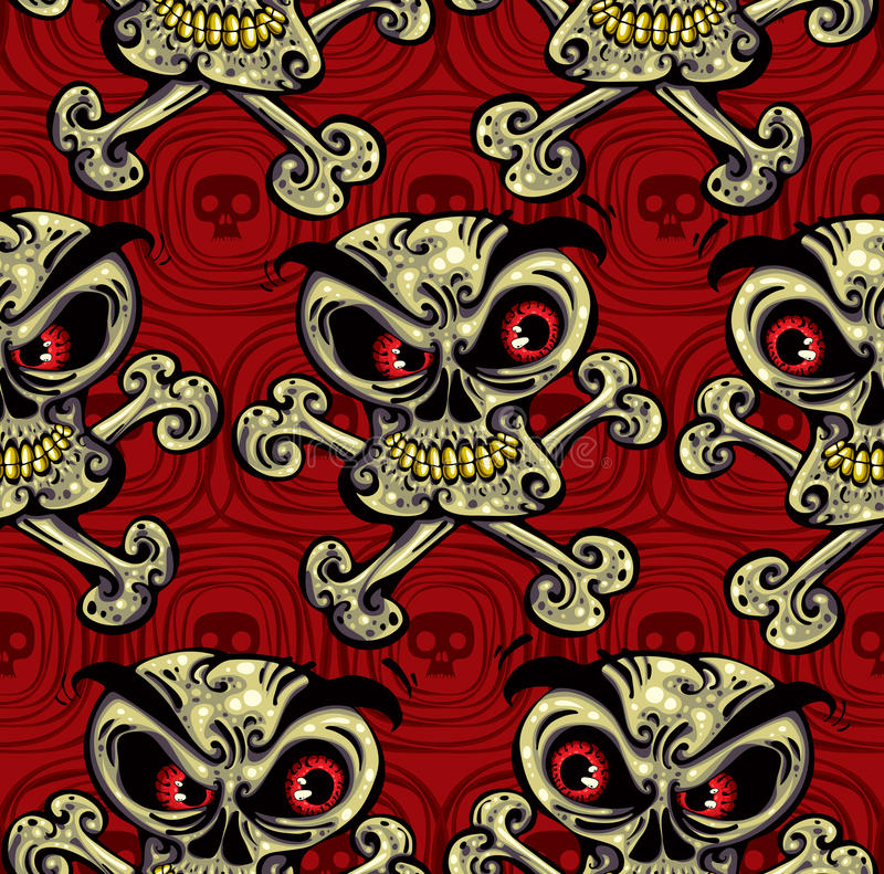 Download Crazy Skulls Seamless Pattern. Stock Vector - Image: 18197983