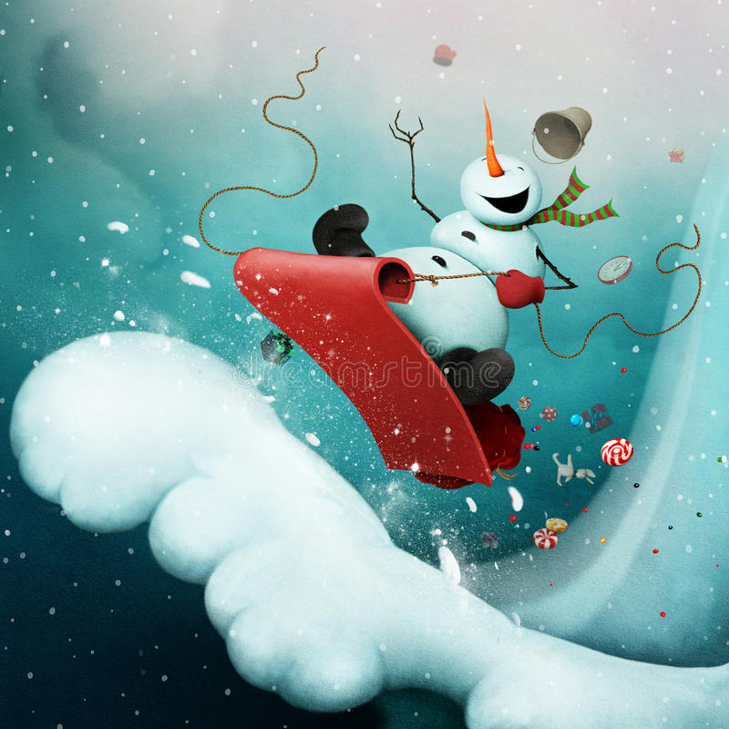 Crazy snowman. Conceptual illustration for greeting card for Christmas or New Year with Crazy Snowman, racing with snowy mountain on sled with gifts. Computer royalty free illustration