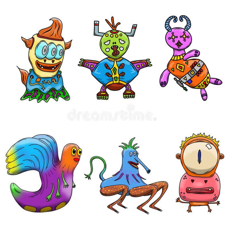 Crazy strange space alien or monster set of 6. Original colored illustrations. Fun and wacky style stock illustration