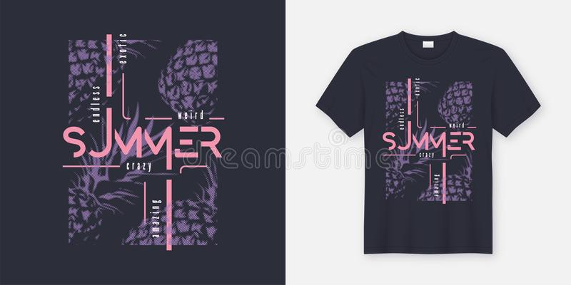 Crazy summer t-shirt and apparel modern design with styled pineapples, typography, print, vector illustration. royalty free illustration