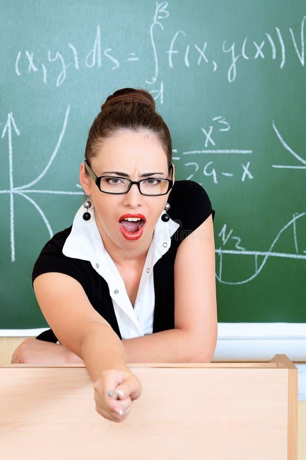 Crazy teacher stock photo