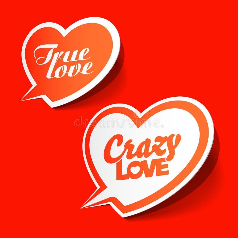 Crazy and True love bubbles. Vector illustration stock illustration