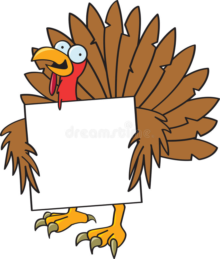 Crazy Turkey With A Sign. A silly turkey with crazy eyes holding a blank sign
