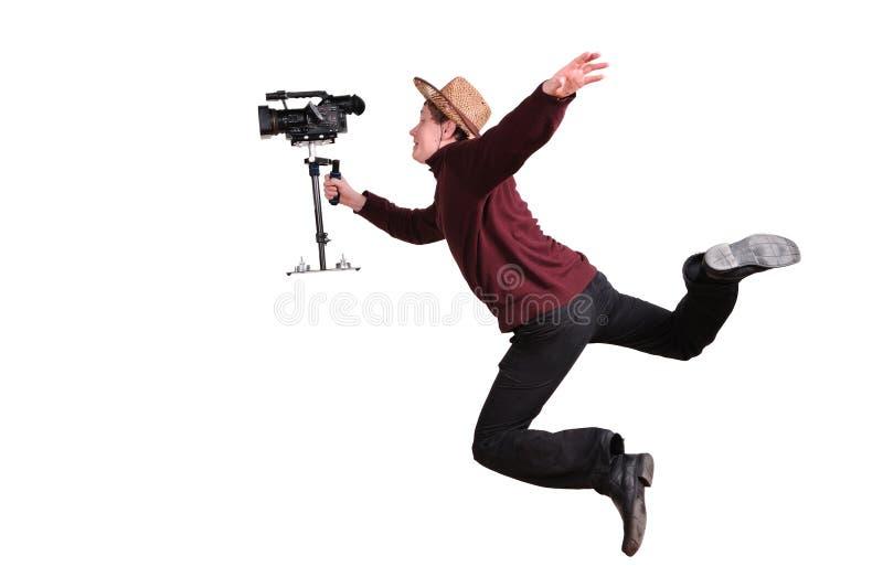 Crazy videographer stock photo