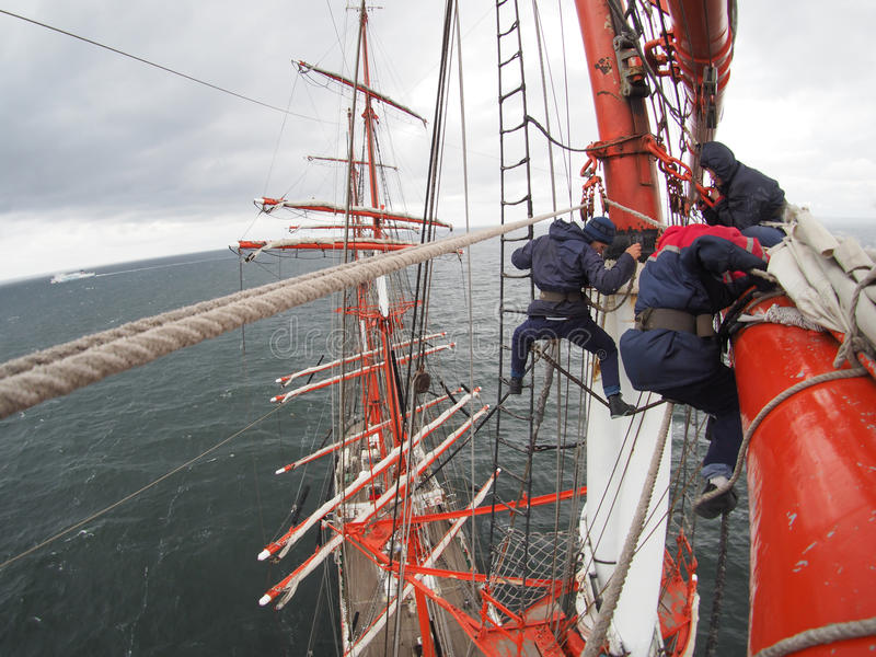 Crazy view aloft on old tallship or sailboat. Climbing aloft on old sailboat or tallship royalty free stock image