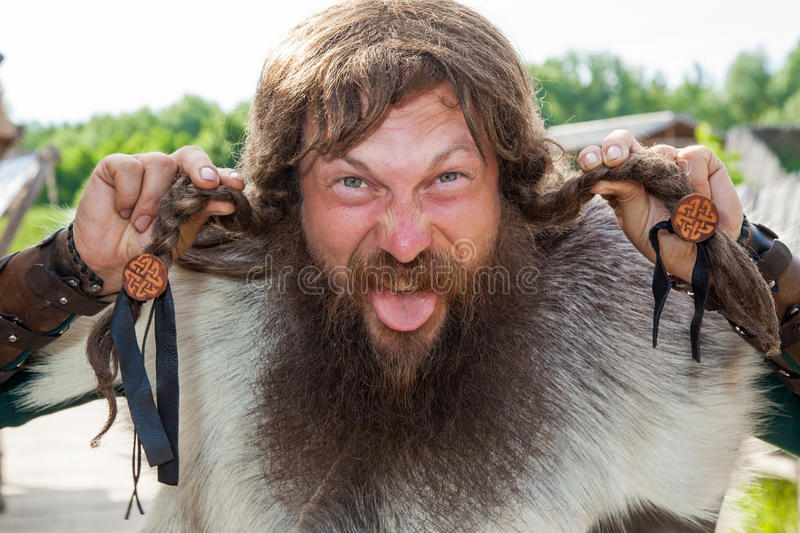 Crazy viking face stock images