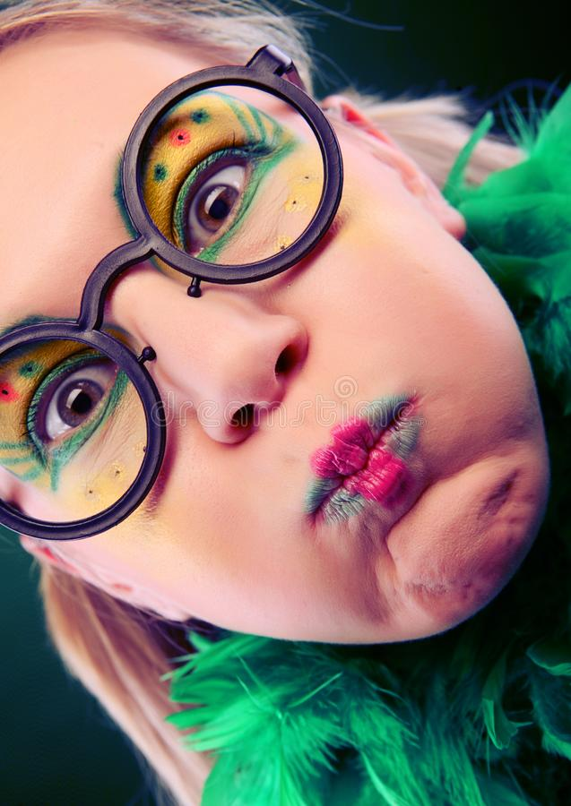 Crazy woman with creative visage close up royalty free stock photo