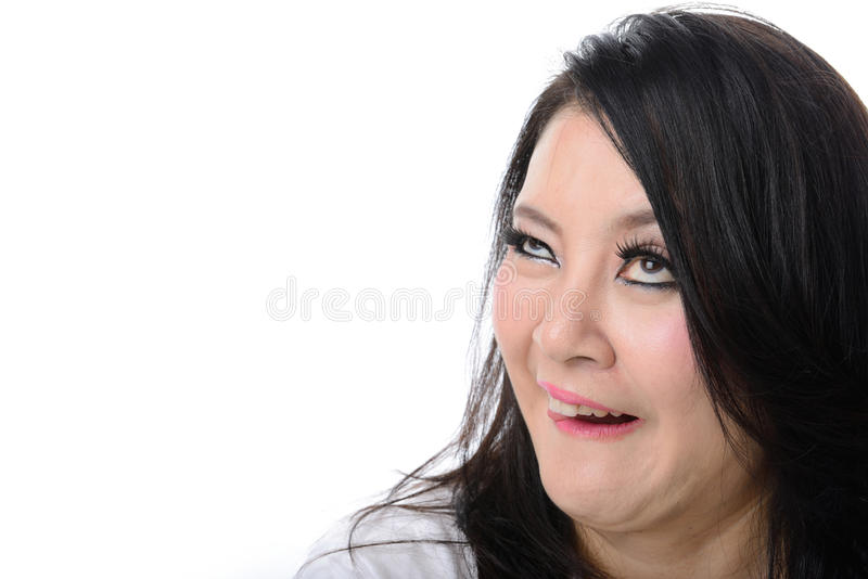 Crazy woman isolated on white. Squint eyed crazy woman isolated on white royalty free stock photos