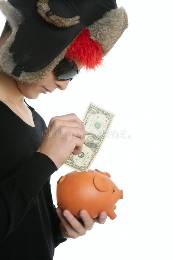 Crazy Young Student Boy, One Dollar In Piggy Bank Royalty Free Stock Photos