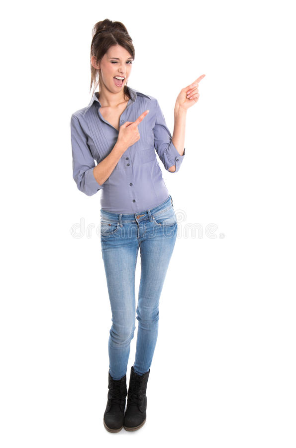 Download Crazy Young Woman Presenting With Her Hands. Stock Image - Image: 38735681