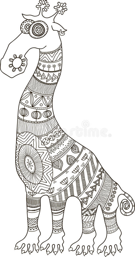 African Styled Tattooed Cartoon Giraffe Contour Illustration For Coloring Book Stock