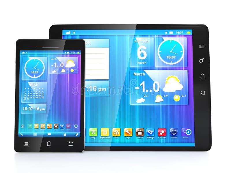 Cre?ër mobiele apps voor tabletten stock illustratie