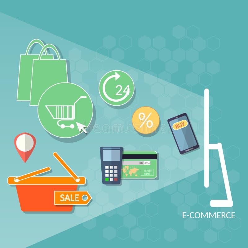 Cre online del deposito del mercato di web di commercio elettronico di concetto di acquisto di Internet illustrazione vettoriale