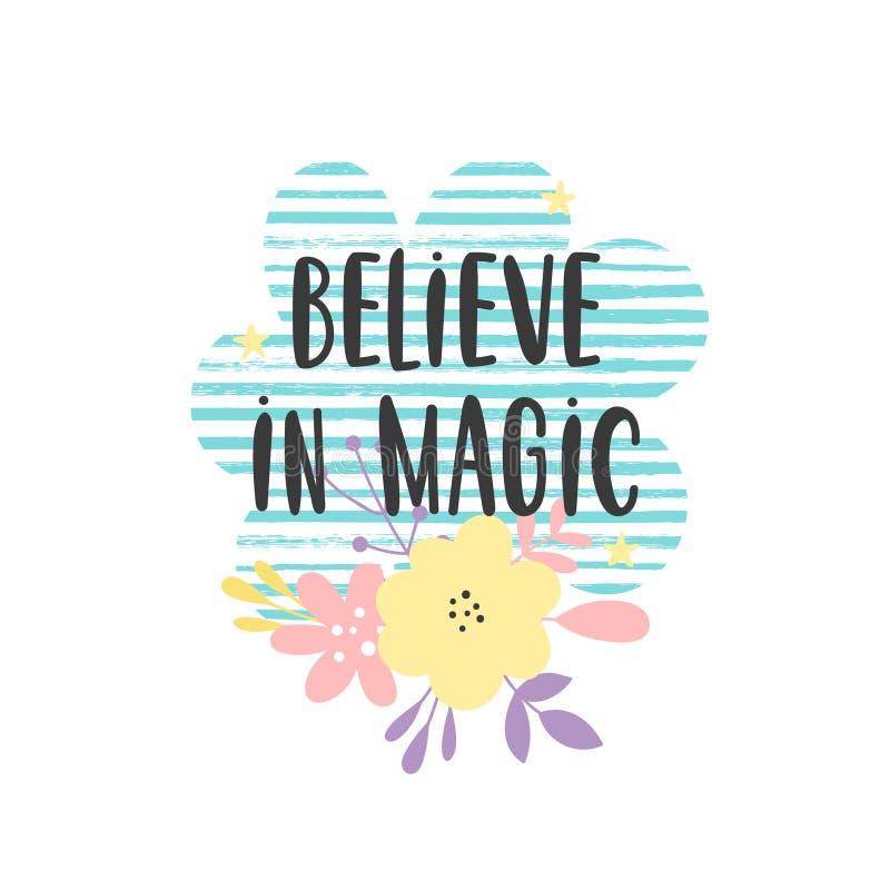 Crea en niños mágicos citan stock de ilustración