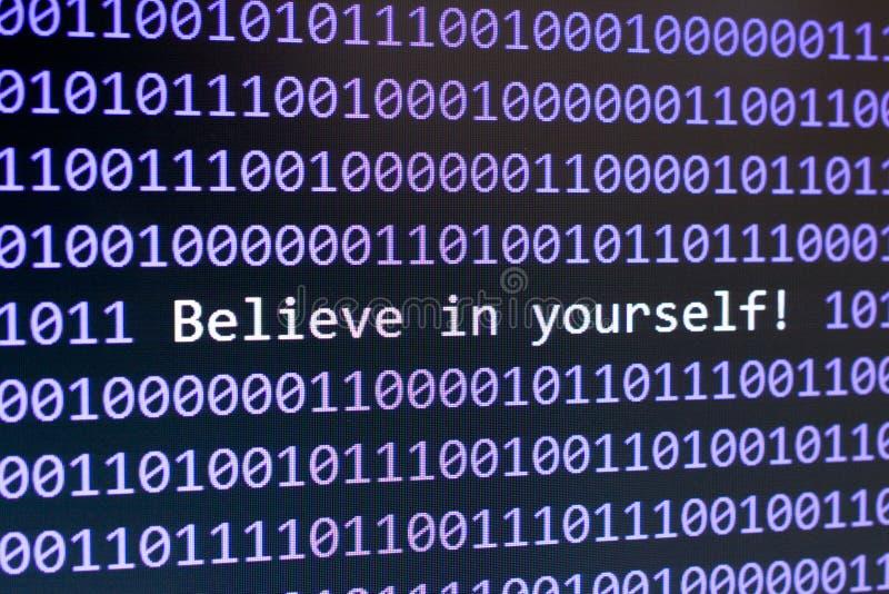 Crea en sí mismo los dígitos en la pantalla imagen de archivo libre de regalías