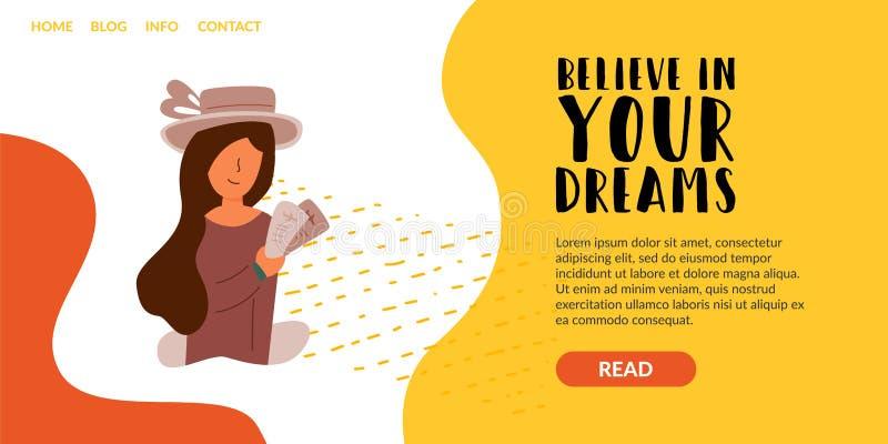 Crea en su muchacha ideal con un sombrero stock de ilustración
