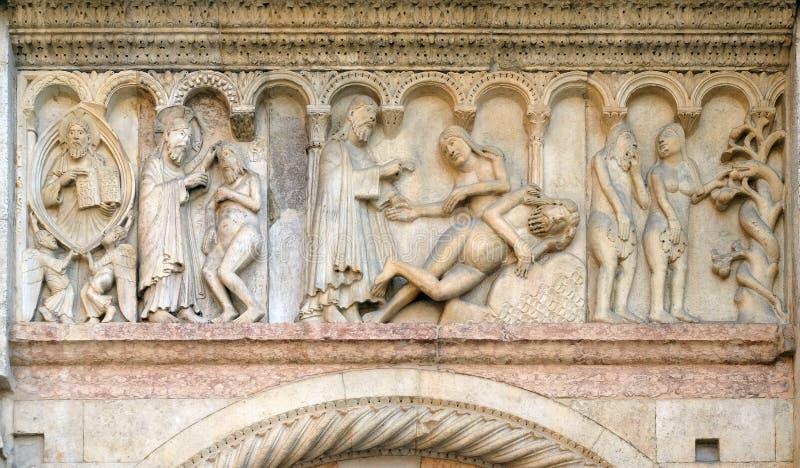 Creación de Adán y de Eva, tentación imágenes de archivo libres de regalías