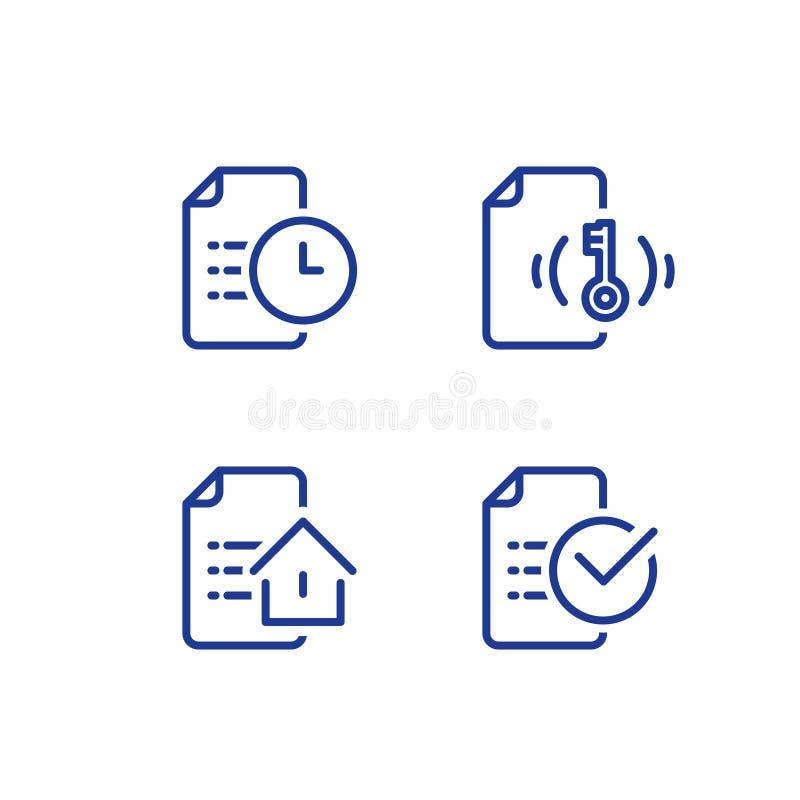 Creación de alquiler del contrato de la casa, forma de la solicitud de hipoteca, condiciones del préstamo hipotecario, concepto d stock de ilustración