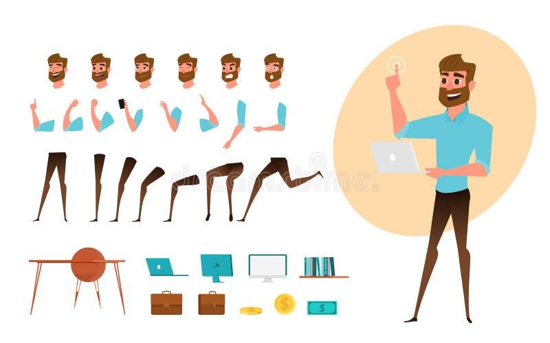 Creación del carácter del hombre de negocios fijada para la animación Parte la plantilla del cuerpo Diversos emociones, actitudes ilustración del vector