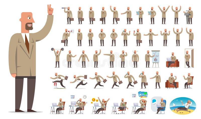 Creación del carácter del hombre de negocios o del encargado, sistema grande Diverso VI stock de ilustración