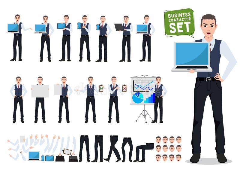 Creación del carácter del vector del hombre de negocios fijada con la pantalla masculina del ordenador portátil de la demostració ilustración del vector