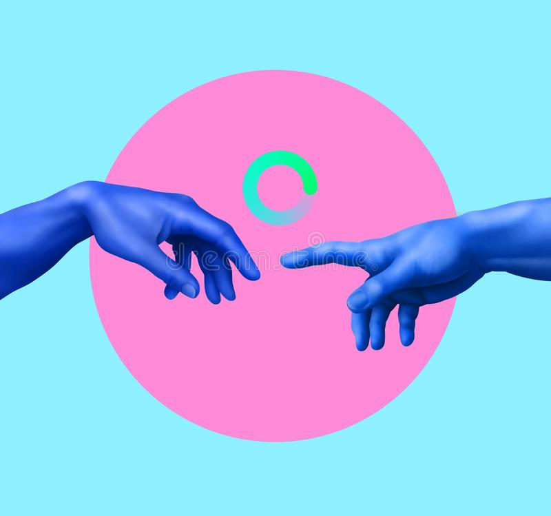 Creaci?n de Ad?n Collage del arte contempor?neo Concepto del cartel del estilo de Memphis ilustración del vector