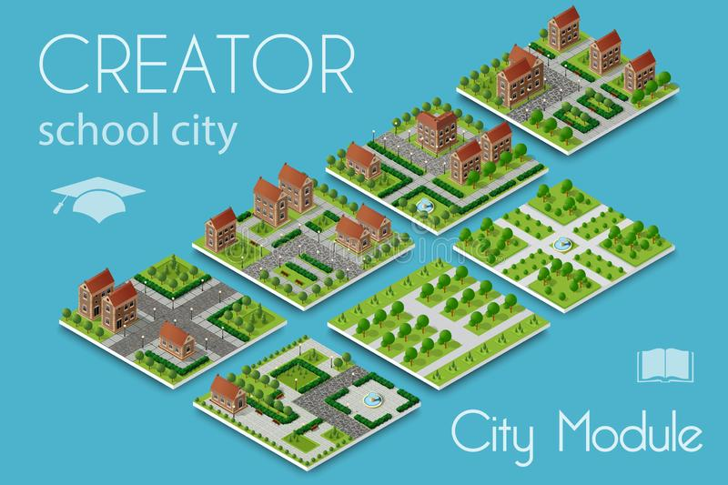 Creador del módulo de la ciudad stock de ilustración