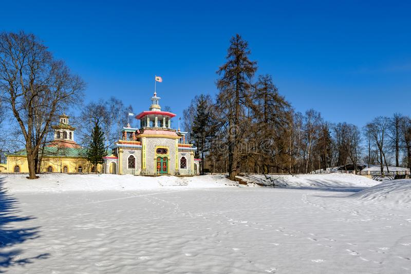 Creaking (Chinese) Summer-House in the Catherine park in Pushkin royalty free stock photo