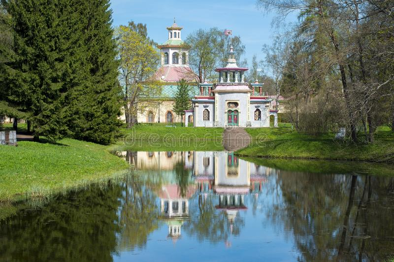 Creaking summer-house and Chinese village in Tsarskoe Selo, Saint Petersburg, Russia royalty free stock photos