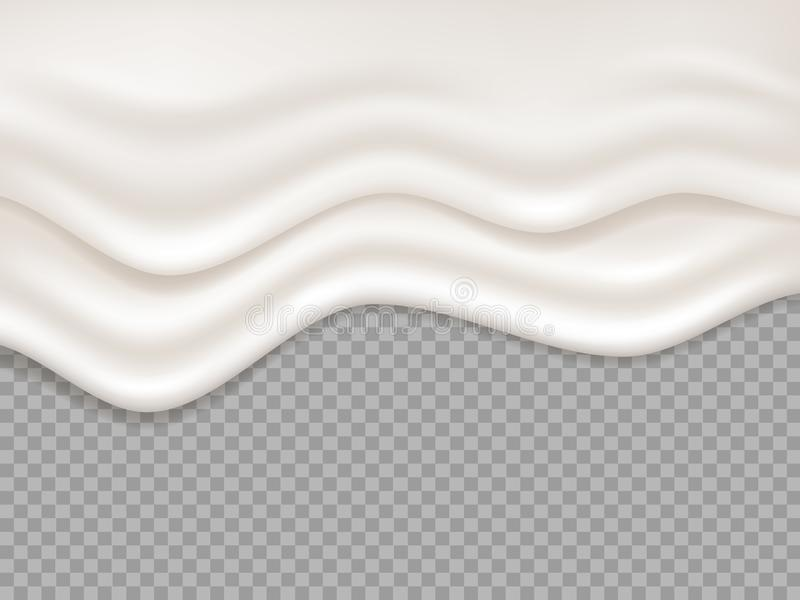 cream белизна Жидкость молока сметанообразная, выплеск югурта Пена капания, иллюстрация вектора melt десерта пропуская изолирован иллюстрация вектора