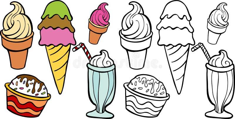 cream обслуживания льда иллюстрация вектора
