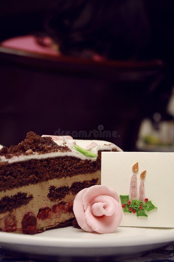 Часть торта венчания стоковая фотография rf