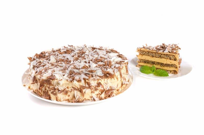 Cream торт изолированный на белой предпосылке стоковая фотография rf