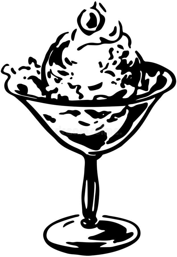 cream льдед тарелки иллюстрация вектора