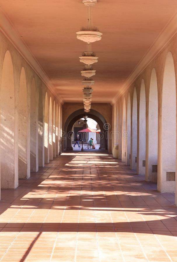 Cream arched walkway royalty free stock photos