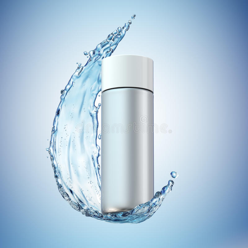 Cream bottle mock up in water splash on blue background. stock photos