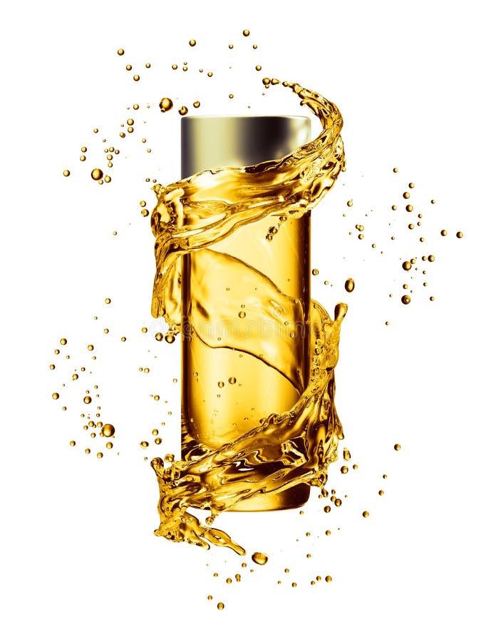 Cream bottle mock up in water splash of golden color. 3D illustration royalty free illustration