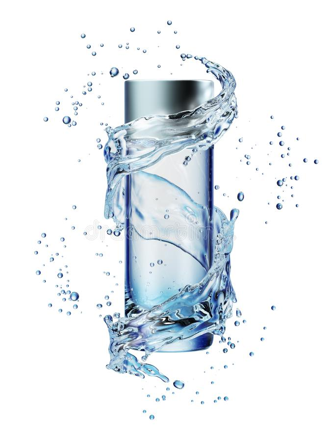 Download Cream Bottle Mock Up In Water Splash On White Background. Stock Image - Image of premium, container: 108915941