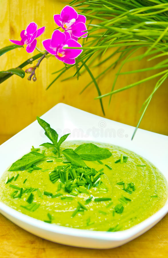 Download Cream of broccoli soup stock image. Image of cream, chives - 23557663